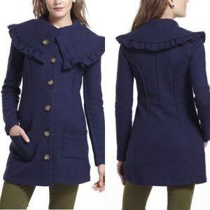HWR navy boiled wool coat
